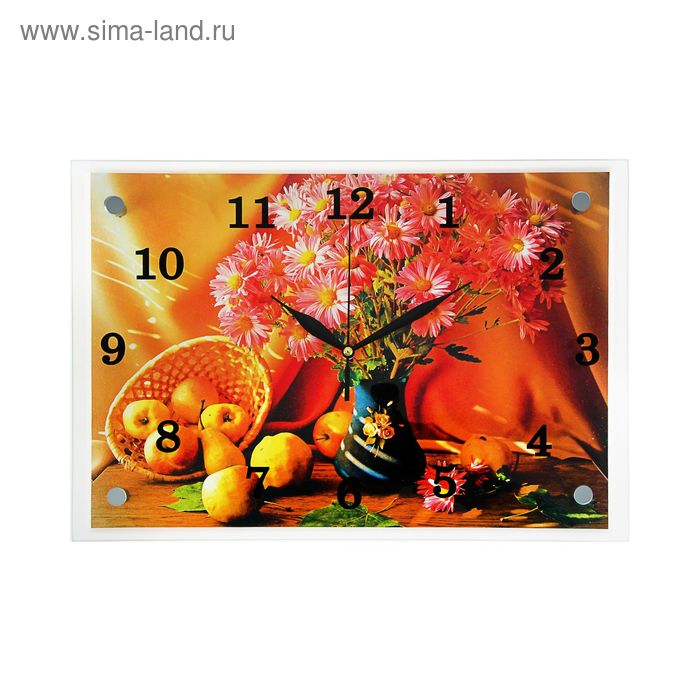 """Часы настенные прямоугольные """"Яблоки и цветы"""", 25х35 см"""