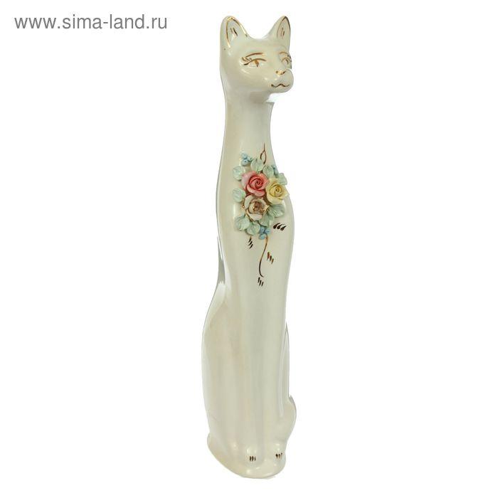 """Копилка """"Кошка с цветами """" лепка, золото"""