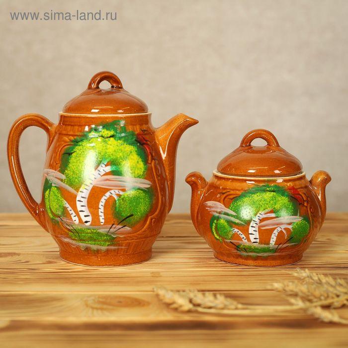 """Чайная пара """"Эдем"""", художественная роспись, 0,7 л, 0,5 л, микс"""