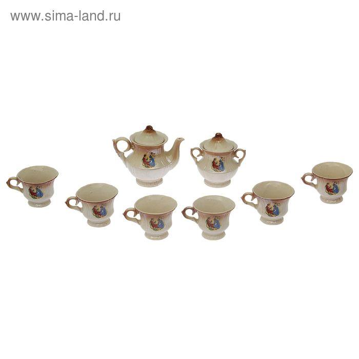 """Чайный набор """"Лорд"""" коричневый, Мадонна, 8 предметов 0,6/0,25 л"""