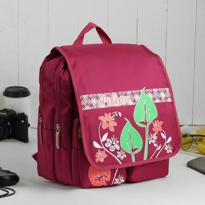 Рюкзак молодёжный на молнии, 2 отдела, 2 наружных кармана, цвет сливовый