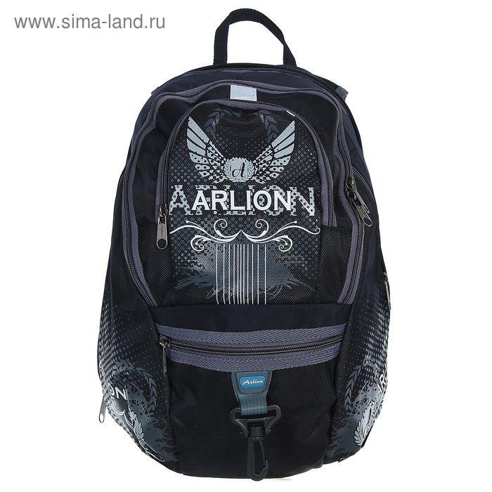Рюкзак молодёжный на молнии, 2 отдела, 2 наружных и 2 боковых кармана, чёрный/синий