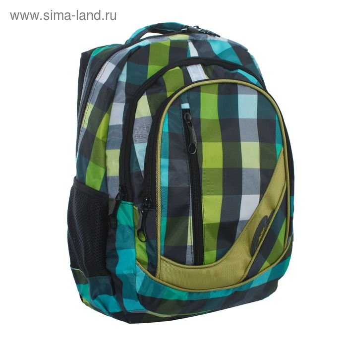 """Рюкзак молодёжный на молнии """"Клетка"""", 2 отдела, 1 наружный и 2 боковых кармана, зелёный/голубой"""