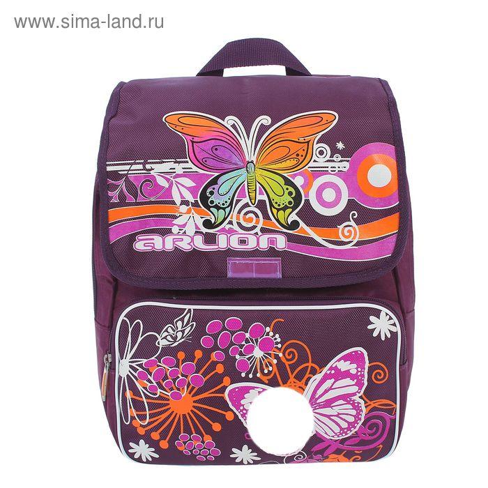 """Рюкзак молодёжный на молнии """"Бабочки"""", 2 отдела, 2 наружных кармана, эргономичная спинка, фиолетовый"""