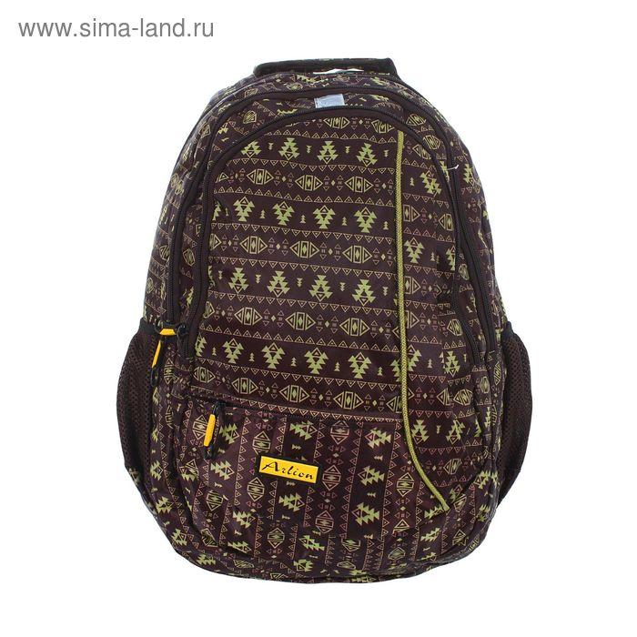 Рюкзак молодёжный на молнии, 1 отдел, 1 наружный и 2 боковых кармана, коричнеый/жёлтый
