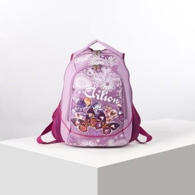 Рюкзак молодёжный на молнии, 2 отдела, 2 наружных кармана, эргономичная спинка, цвет розовый, МИКС