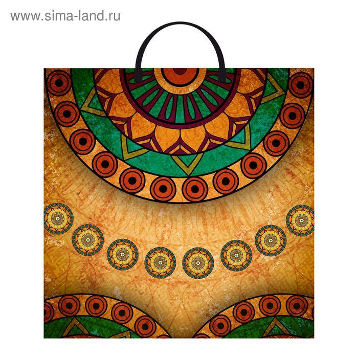 """Пакет """"Африканский стиль"""", полиэтиленовый с пластиковой ручкой, 36х37 см, 110 мкм"""