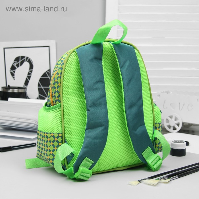 Рюкзак детский на молнии, 1 отдел, 3 наружных кармана, зелёный