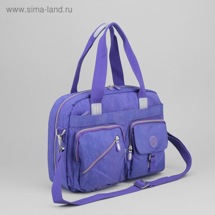 Сумка спортивная на молнии, 1 отдел, 2 наружных кармана, фиолетовая