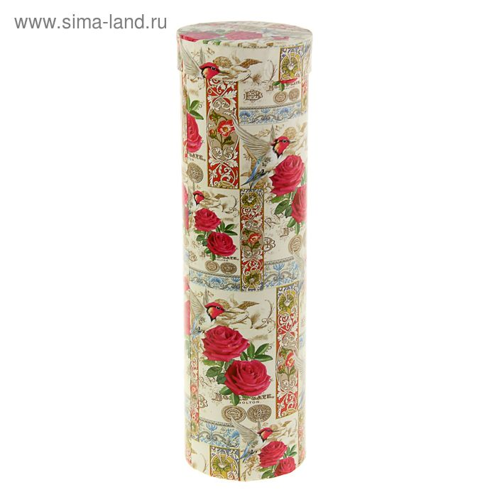 "Подарочная коробка, тубус ""Цветы с колибри"" 9,2 х 9,2 х 32 см"
