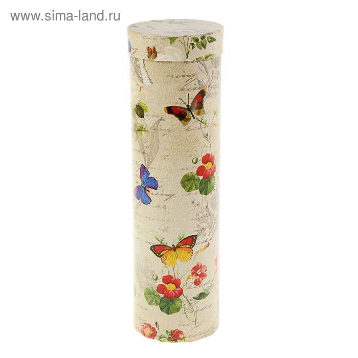 """Подарочная коробка, тубус """"Бабочки ретро"""" 9,2 х 9,2 х 32 см"""