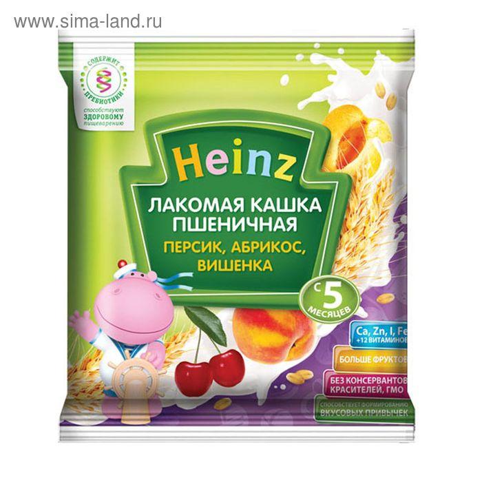 Кашка Heinz пшеничная абрикос, персик, вишенка, сашет 30 г