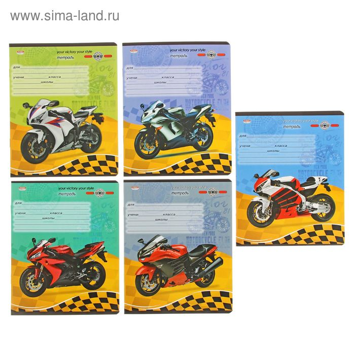 Тетрадь 12л кл Гоночные мотоциклы-2 цветн мел/обл., 5видов микс, в спайке 12-9216