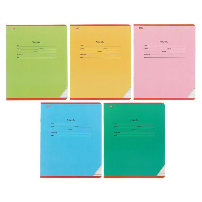 """Тетрадь 12 листов узкая линейка """"Школьная классика"""", обложка картон хромэрзац, 5 видов МИКС в коробке"""
