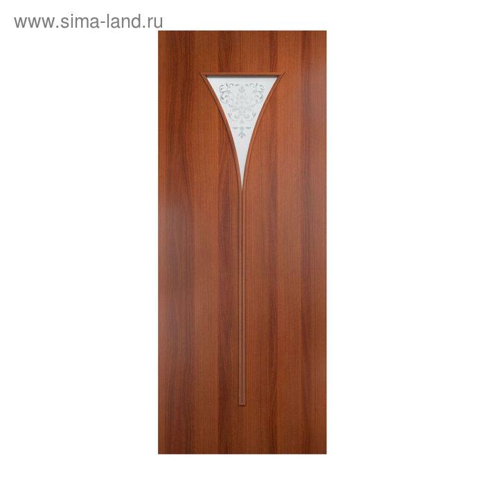 Дверное полотно Сатинато Итальянский орех  остекленное С-4 2000х600