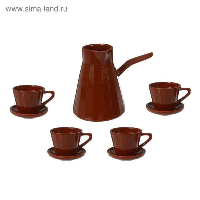"""Сервиз кофейный """"Ностальгия"""" малый, турка 0,7л, чашка с блюдцем 0,2л - 4 шт"""