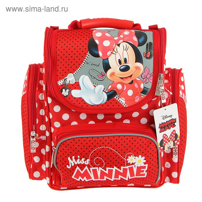 """Ранец Стандарт Disney """"Минни"""" Classic 31*29*15, для девочки, красный"""