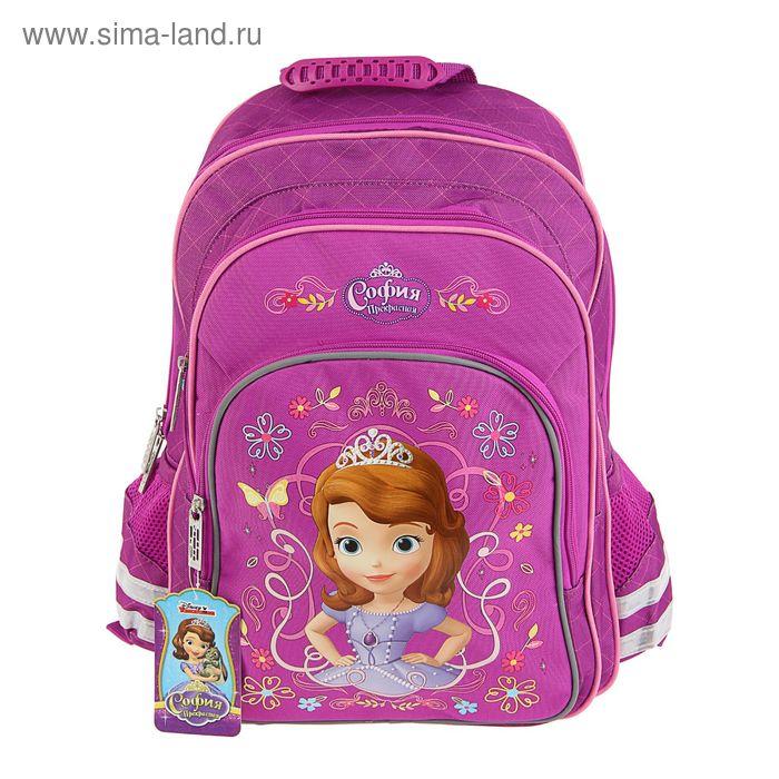 Рюкзак школьный эргономичная спинка Disney София 38*28*13 см, для девочки, розовый