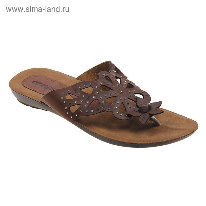 Туфли летние женские открытые, цвет коричневый, размер 38 (арт. 143-471 EW)