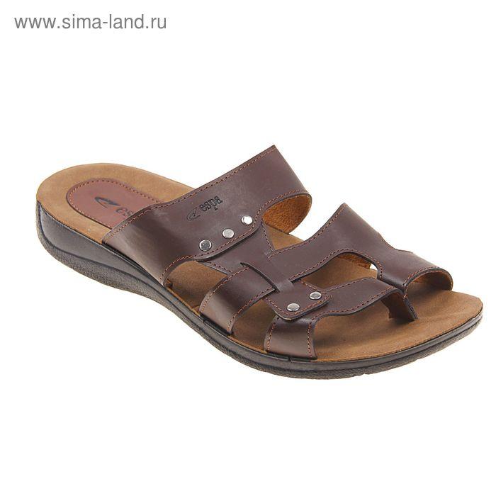 Туфли летние мужские открытые, цвет коричневый, размер 42 (арт. 143-438 EМ)