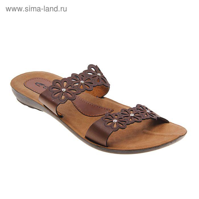 Туфли летние женские открытые, цвет коричневый, размер 39 (арт. 143-487 EW)