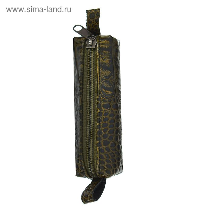 Ключница на молнии, зелёный крокодил