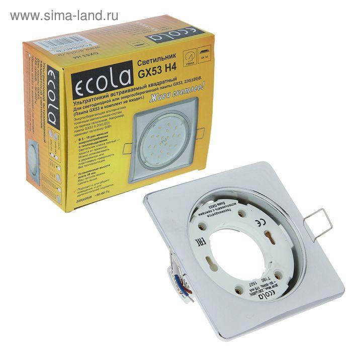 Светильник встраиваемый Ecola GX53 H4, 107x41 мм,квадратный, б/рефлектора, цвет хром