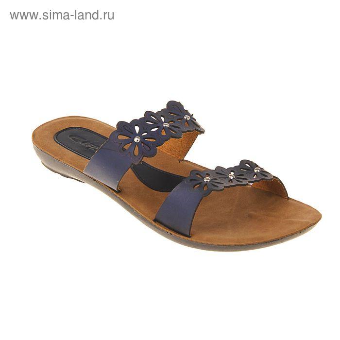 Туфли летние женские открытые, цвет синий, размер 37 (арт. 143-490 EW)