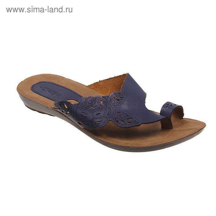 Туфли летние женские открытые, цвет синий, размер 41 (арт. 143-474 EW)