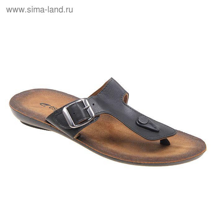 Туфли летние мужские открытые, цвет чёрный, размер 42 (арт. 143025-1 EМ)