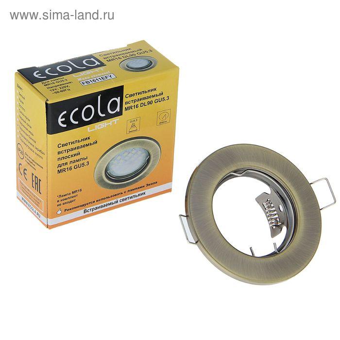 Светильник встраиваемый Ecola MR16 GU5.3 DL90, плоский, 30x80 мм, цвет чёрная бронза