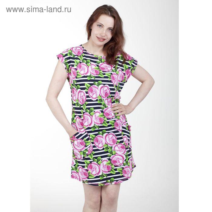 Платье женское Б385, полоса МИКС, р-р 48 (L)