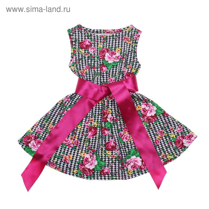 """Платье """"Летний блюз"""", рост 122 см (62), цвет розовый, принт гусиные лапки (арт. ДПБ837001н)"""