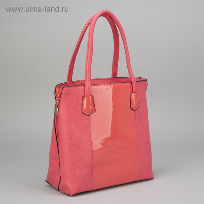 Сумка женская, 1 отдел с перегородкой, 1 наружный карман, розовая