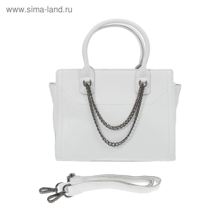 Сумка женская на молнии, 1 отдел с перегородкой, 1 наружный карман, длинный ремень, белая