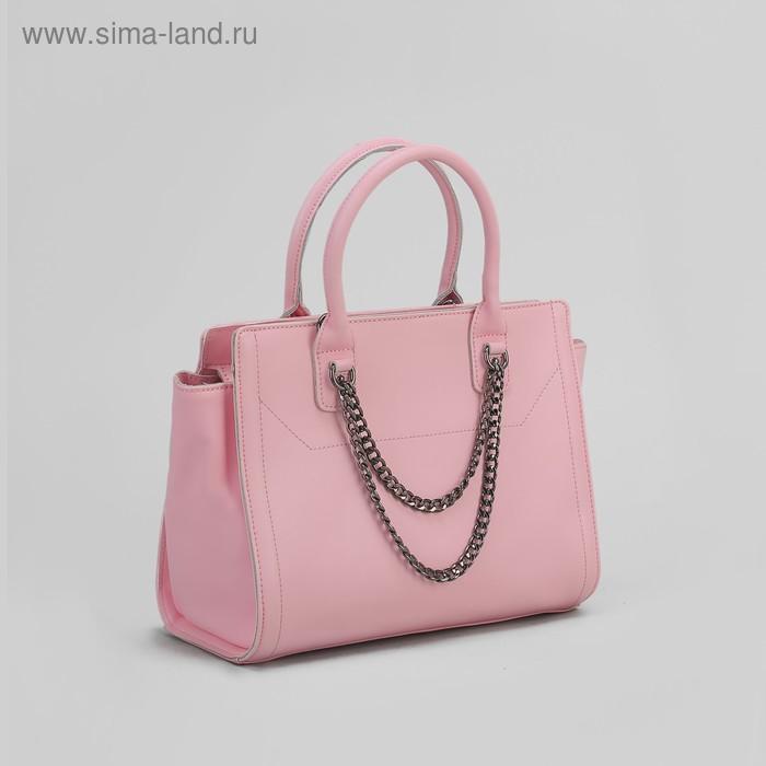 Сумка женская на молнии, 1 отдел с перегородкой, 1 наружный карман, длинный ремень, розовая