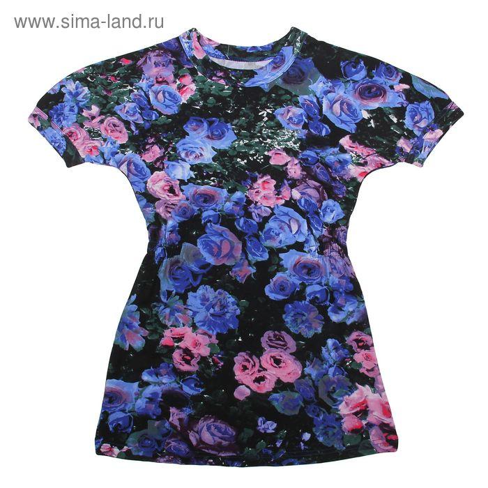 """Платье """"Крылья бабочки"""", рост 110 см (56), цвет чёрный, принт розы (арт. ДПК446820н)"""