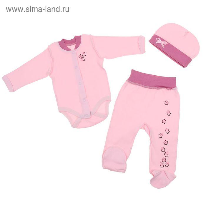 Набор ясельный (боди, ползунки, шапочка), рост 56-62 см, цвет розовый 20-9207_М