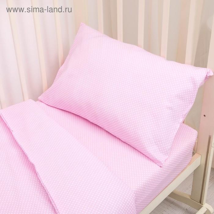 """Постельное бельё """"Горошки"""", пододеяльник 110х140, простыня на резинке 90х150, наволочка 40х60-1 шт., цвет розовый (арт. 10023)"""