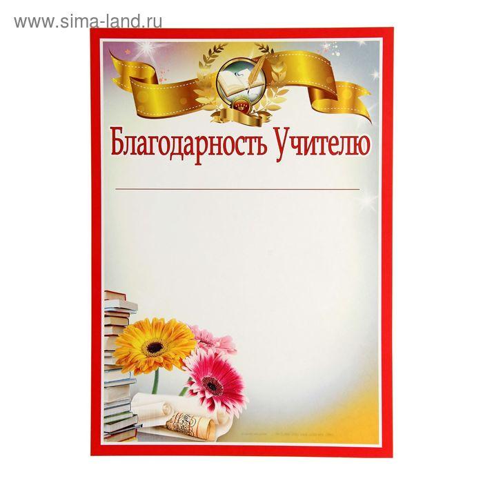 """Благодарность """"Учителю"""" цветы и книги"""