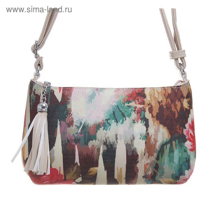 """Сумка женская на молнии """"Цветы"""", 1 отдел, 1 наружный карман, длинный ремень, белая"""