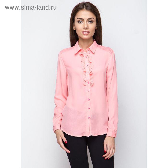 Блузка женская с длинным рукавом, рост 170 см, размер 50, цвет розовый (арт. 15186 С+)
