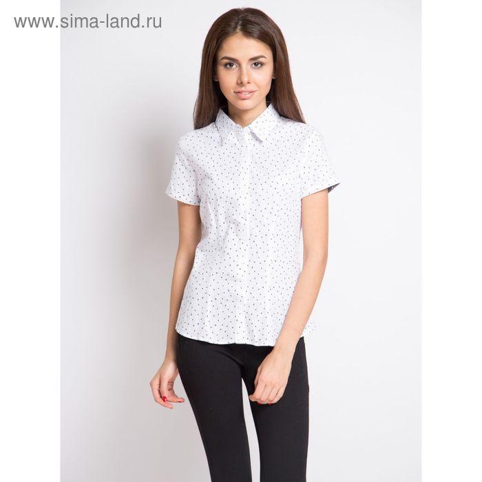 Блузка женская с коротким рукавом, рост 170 см, размер 50, цвет белый, принт звёздочки (арт. 1538-1 С+)