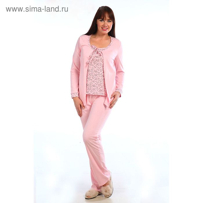 Комплект женский (кардиган, майка, брюки) 243ХГ1643 розовый, р-р 46 (92)
