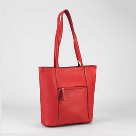 Сумка женская на молнии, 1 отдел, 2 наружных кармана, красная