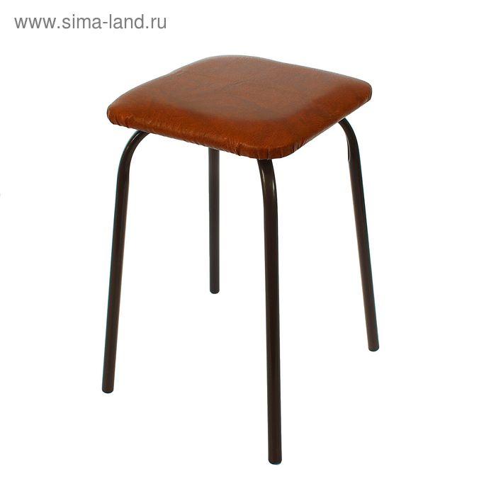 Табурет квадратный, цвет ножек темный шоколад, сиденье коричневый