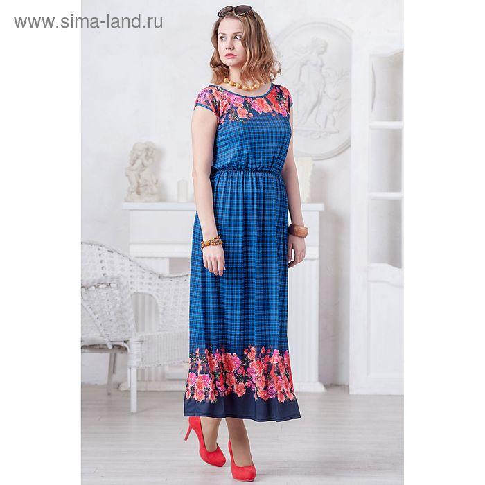 Платье женское 4482, размер 48, рост 164 см, цвет синий/коралловый