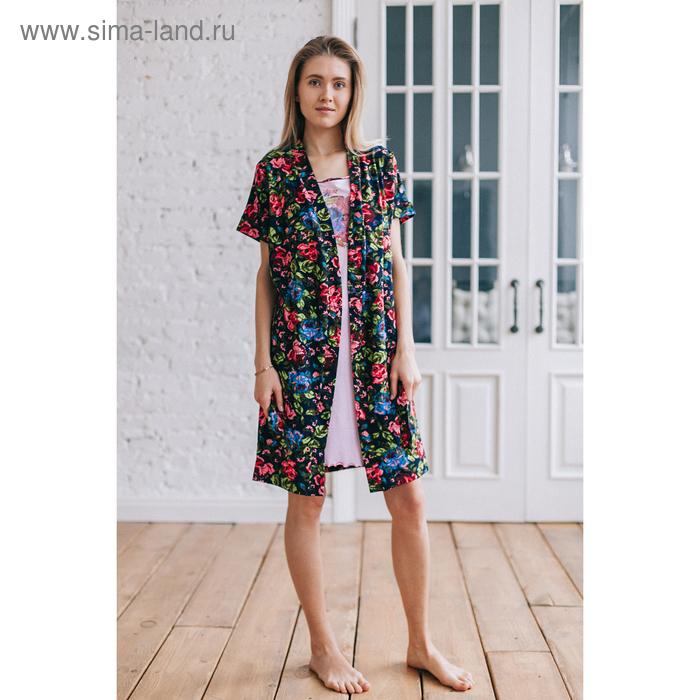 Комплект женский (халат, сорочка), цвет розовый/синий, размер 46 (арт. 8026)