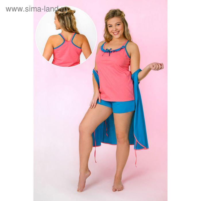 Комплект женский (топ, шорты, халат) Утро-2, цвет МИКС, размер 52