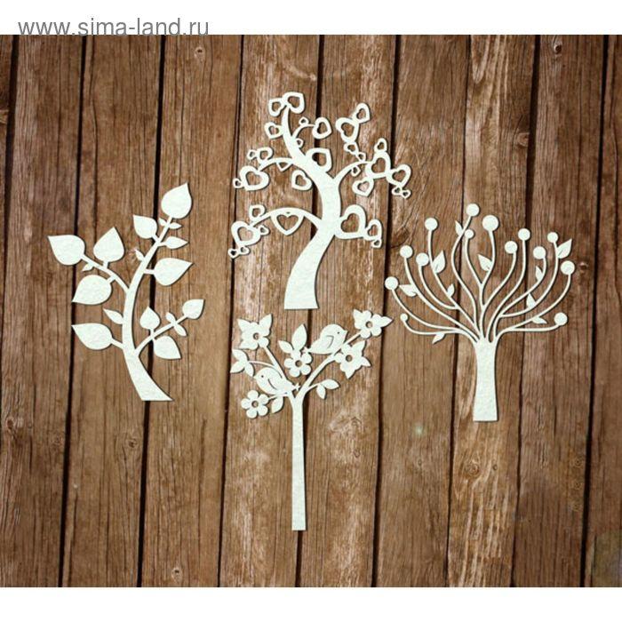 """Набор чипбордов из 4 шт. """"Деревья"""", толщ. 0,9-1,15 мм, h=7 см"""